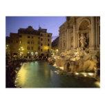 Fonte na noite, Roma do Trevi, Lazio, Italia Cartoes Postais