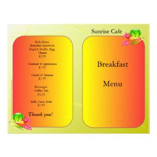 Fontes do restaurante, menu da amostra, Sunnyside Modelos De Panfleto
