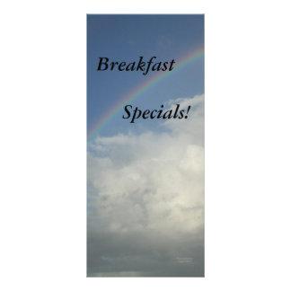 Fontes do restaurante, Specials do pequeno almoço, 10.16 X 22.86cm Panfleto