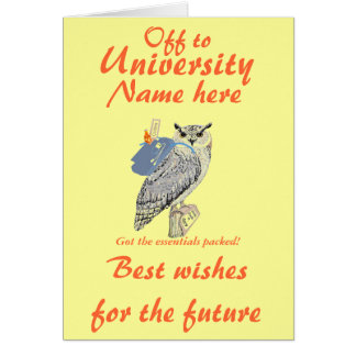 Fora à universidade cumprimentos a coruja cartoes