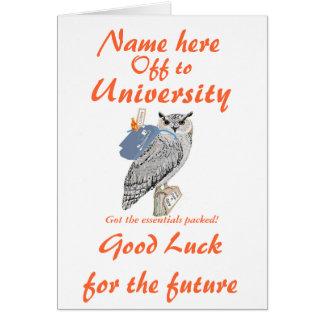 Fora à universidade cumprimentos a coruja cartao