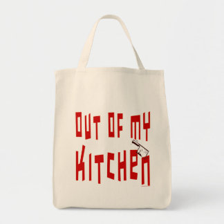 Fora de minha sacola engraçada do slogan do cozinh sacola tote de mercado