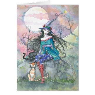 Fora do cartão ordinário da bruxa e dos gatos do