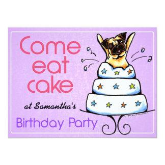 Fora-Trela Art™ da menina do bolo do Pug da festa Convite 16.51 X 22.22cm