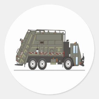 Forças armadas do caminhão de lixo adesivo em formato redondo