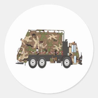 Forças armadas do caminhão de lixo de Camo Adesivos Redondos