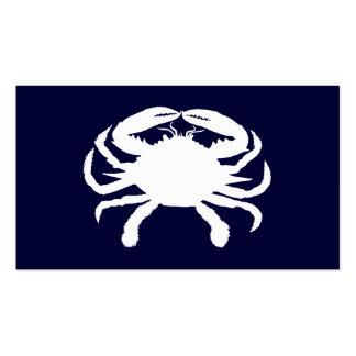 Forma azul e branca do caranguejo cartões de visita