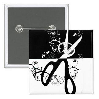 Forma branca preta na moda chique das tesouras bóton quadrado 5.08cm