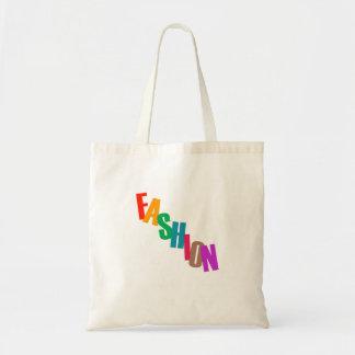 Forma da palavra em letras coloridas sacola tote budget