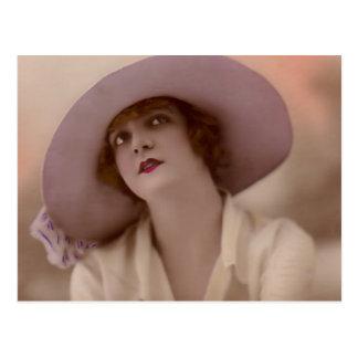"""""""Forma da senhora cor-de-rosa"""" vintage Cartões Postais"""