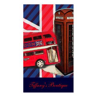 forma de ingleses da cabine de telefone do ônibus cartoes de visita