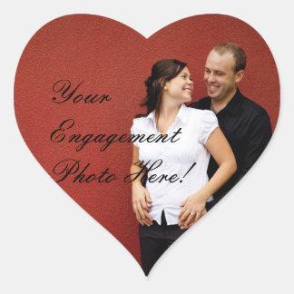 Forma do coração das etiquetas da foto do noivado  adesivos