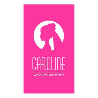 Forma do rosa quente do cabeleireiro do casamento cartão de visita