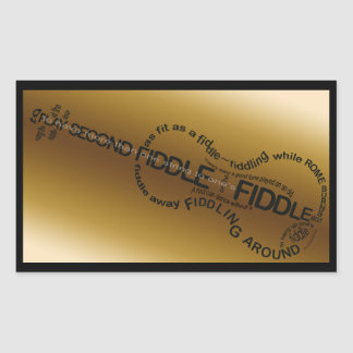 Forma do violino da arte da palavra do violino adesivo retangular