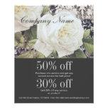 forma floral do rosa branco do damasco do vintage panfleto personalizados
