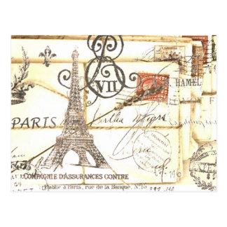 Forma floral feminino de Paris do vintage elegante Cartões Postais