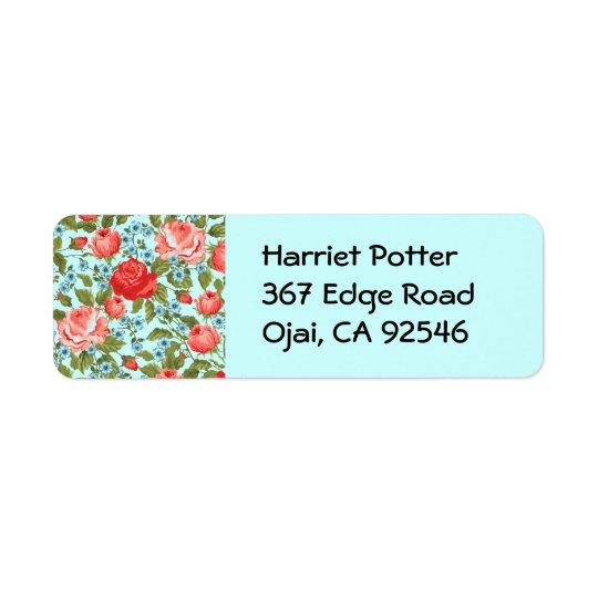 Forma floral retro feminino legal bonito fina etiqueta endereço de retorno