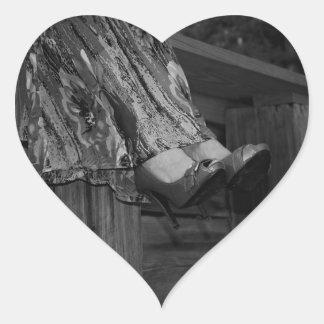 Forma preto e branco adesivo coração