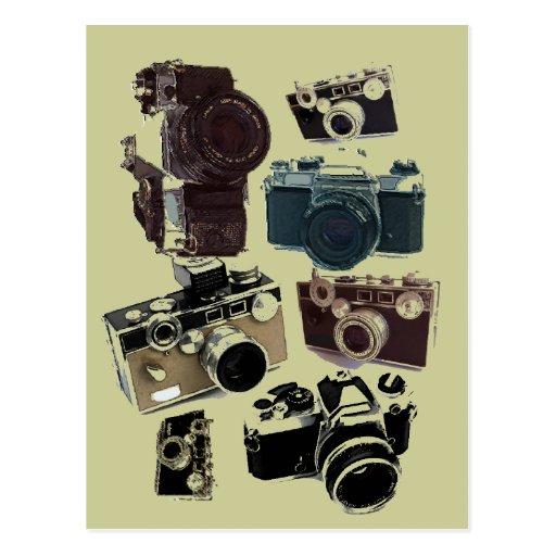 Forma retro das câmeras do Grunge do vintage Cartoes Postais
