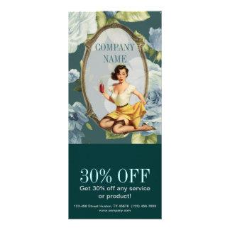 forma retro feminino do vintage floral azul 10.16 x 22.86cm panfleto