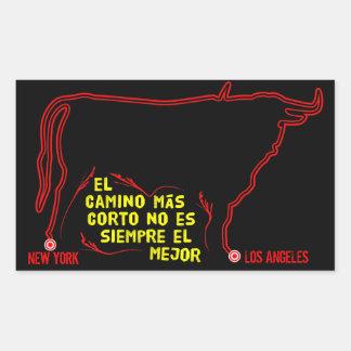 Forma vermelha do touro do Shortest-Path de New Adesivo Retangular