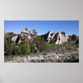 Formação na cidade da reserva nacional das rochas poster