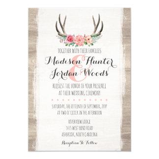 Formal personalizado dos Antlers casamento rústico Convite 12.7 X 17.78cm