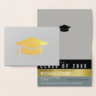 formando moderno, listrado & elegante. ouro do cartão metalizado