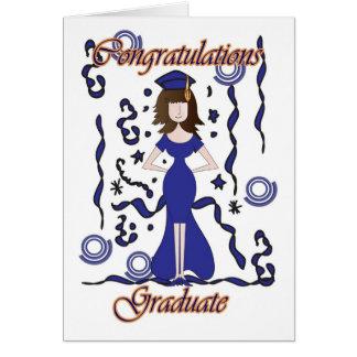 Formando, parabéns da graduação com menina cartão comemorativo