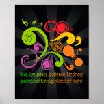Formas coloridas, fruta do espírito impressão