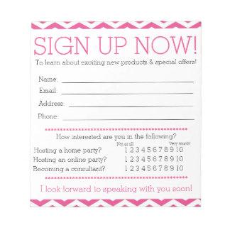 Formulário cor-de-rosa e branco da informações de caderno de anotação