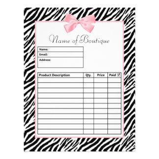 Formulário de ordem cor-de-rosa verdadeiro da fita modelos de panfleto