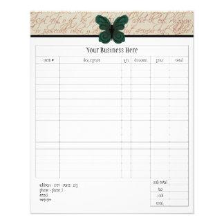 Formulário de ordem pequena queimado da borboleta panfletos personalizados