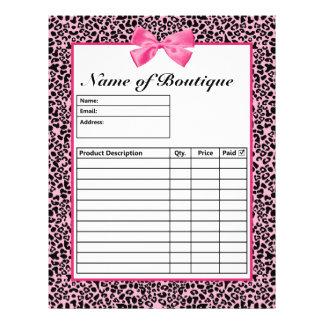 Formulários de ordem cor-de-rosa e pretos na moda  panfletos personalizados