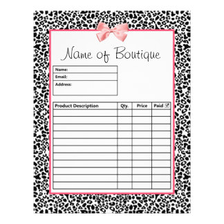 Formulários de ordem preto e branco na moda do imp panfletos personalizados