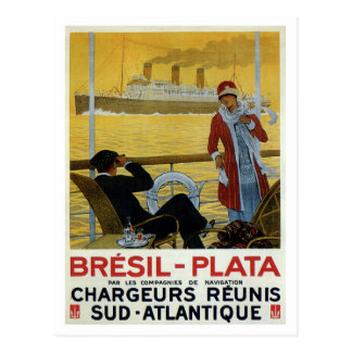 Forro de oceano do vintage ao poster do anúncio de cartão postal