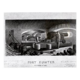 Forte Sumter, vista interior da bateria de arma tr Cartões Postais