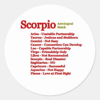 Fósforo astrológico da Escorpião os presentes de Adesivos Em Formato Redondos