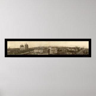 Foto 1910 de Birdseye do templo de Mormon Pôster