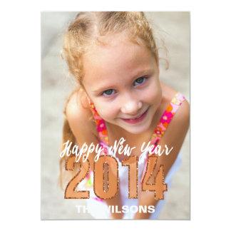 Foto 2014 do brilho do ouro do feliz ano novo convite personalizado