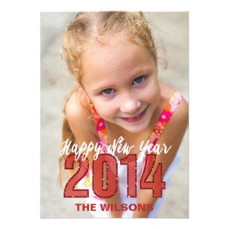 Foto 2014 vermelha do brilho do feliz ano novo convites personalizado