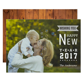 Foto 2017 moderna do feliz ano novo da tipografia convite 12.7 x 17.78cm