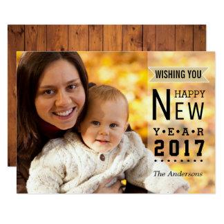 Foto 2017 simples do feliz ano novo da tipografia convite 12.7 x 17.78cm