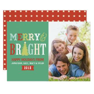 Foto a cores retro alegre & brilhante convite 12.7 x 17.78cm