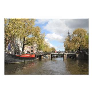 Foto Amsterdão, canal, ponte, casa flutuante, pináculo