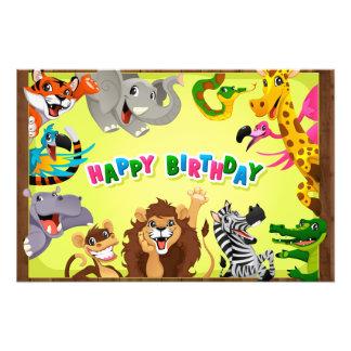 Foto Animais do jardim zoológico do feliz aniversario