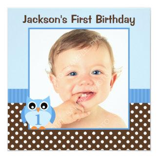 Foto azul do menino do primeiro aniversario das convite quadrado 13.35 x 13.35cm