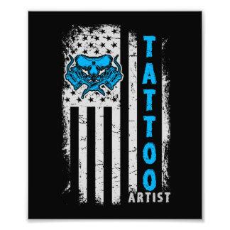Foto Bandeira americana dos EUA com artista do tatuagem