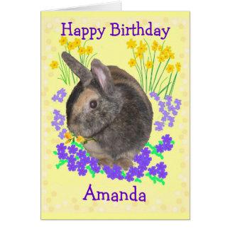 Foto bonito e flores do coelho cartão