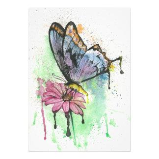 Foto Borboleta do Watercolour na flor, impressão da